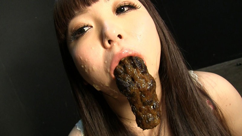 Asian girl eating poop